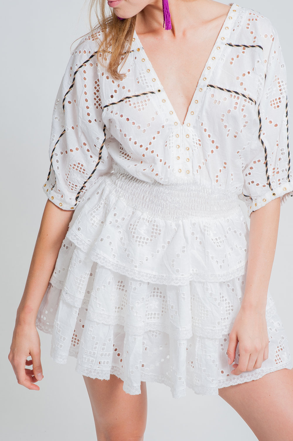 SS19-33 LE CASTEL MINI CUTWORK LACE TIERED MINI DRESS