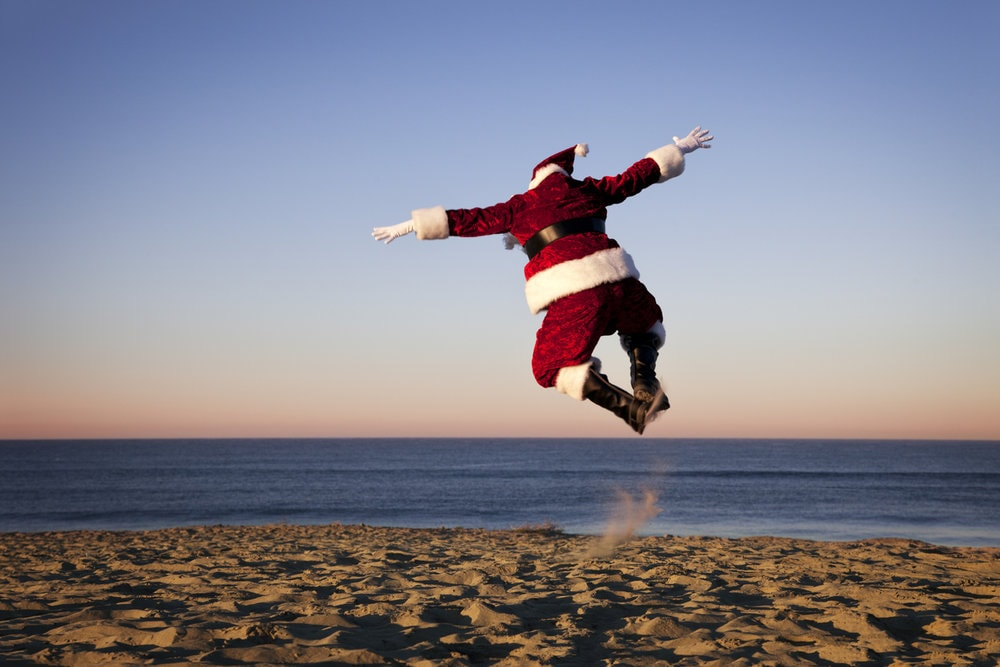 Santa jumping for joy