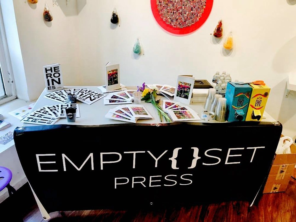 Merch table at the Copy/Body-Empty Set Launch Party. 6/17/2017