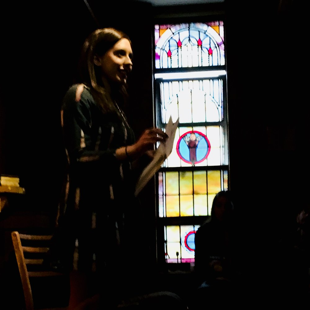 The bewitching  Kailey Tedesco  kicking things off at The Convent for the Flowersonnets Chapbook Release Party. 5/18/2018