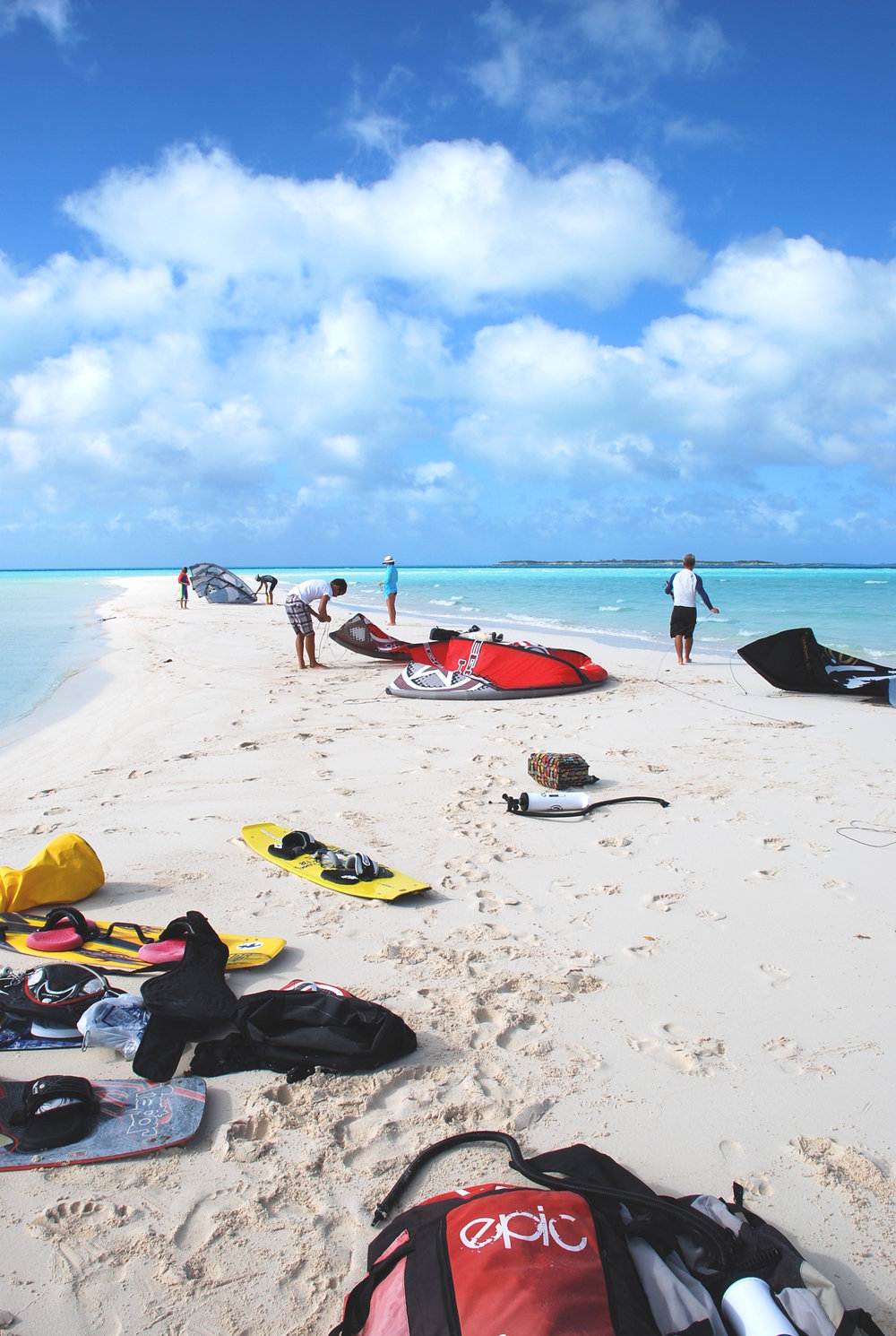 Setting up for a beautiful session at a sandbar in The Exumas