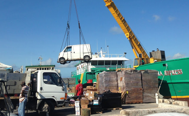 """The micro """"Man Van"""" the day it arrived on the Eleuthera Express"""