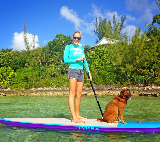 Paddleboarding with my potcake