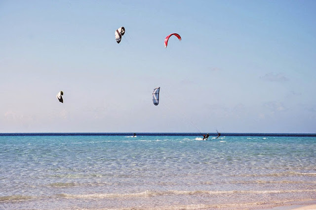 A crowded day kiteboarding....yours truly on the left