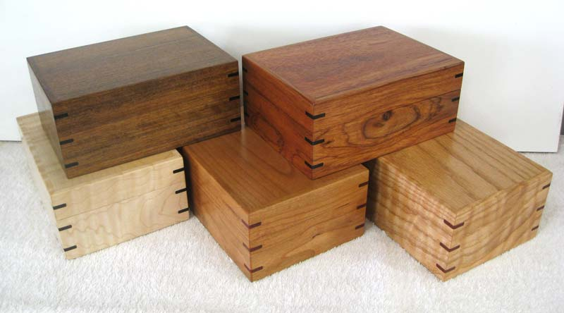 "Boxes - Small - Front Row (L-R) : Figured Maple, Cherry, Red Oak  -   Back Row (L-R) : Shedua, Monday Wood 5""w x 7""l x 3""h"