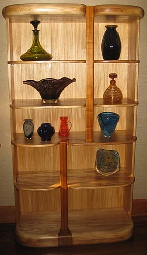 "Waterfall Display Case  Primavera, Damar Minyak & Canarywood, finished with three coats of Tung Oil40"" wide x 75"" high x 16"""