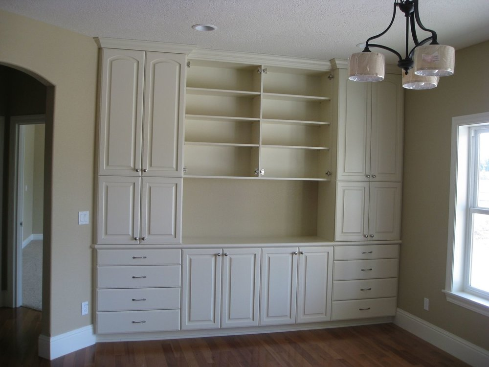 Display hutch made from paint grade materials then covered in an Almond color paint.
