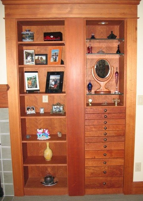 "Built in cabinet with display shelves and jewelry drawers. Alcove measured 42"" wide by 80""h and 13"" deep."