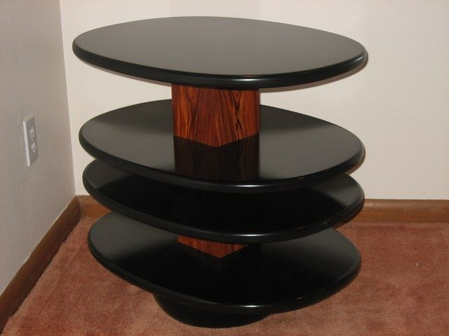 "Cocobolo End Table with black lacquered shelves. 16""w x 22""d x 26""h"