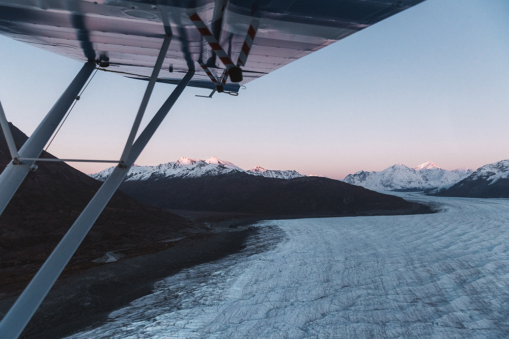 Visitors can view the glacier by air,all-terrain vehicle tour, by boat, or on a guided packrafting tour.