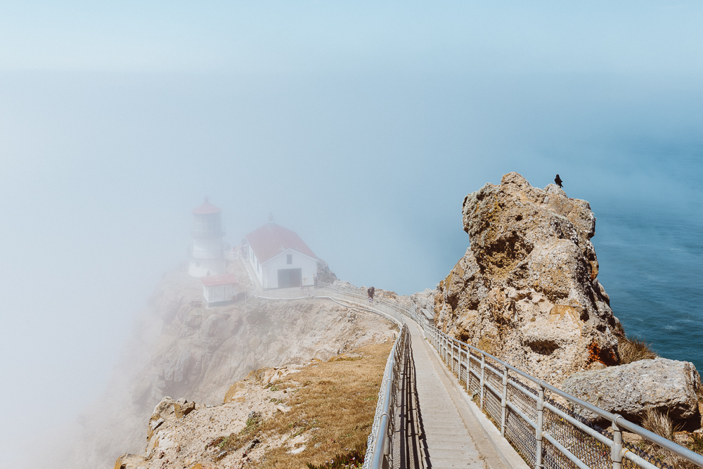 The historic Point Reyes Lighthouse was built in 1870 to warn ships of the dangerous Headlands and as an aid to maritime navigation.
