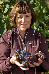 Okanagan Crush Pad co-owner Christine Coletta holds grapes from Switchback Vineyar