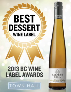 The Harper's Trail Late Harvest Riesling wins for Best Dessert Label