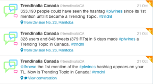 Wide participation in the national tasting made the #plwines hash tag trend in canada