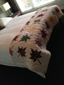 Hand made quilts are supplied in each room at Honour House