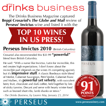 The Drink Business includes Beppi Crosariol's Globe and Mail review of Perseus Invictus