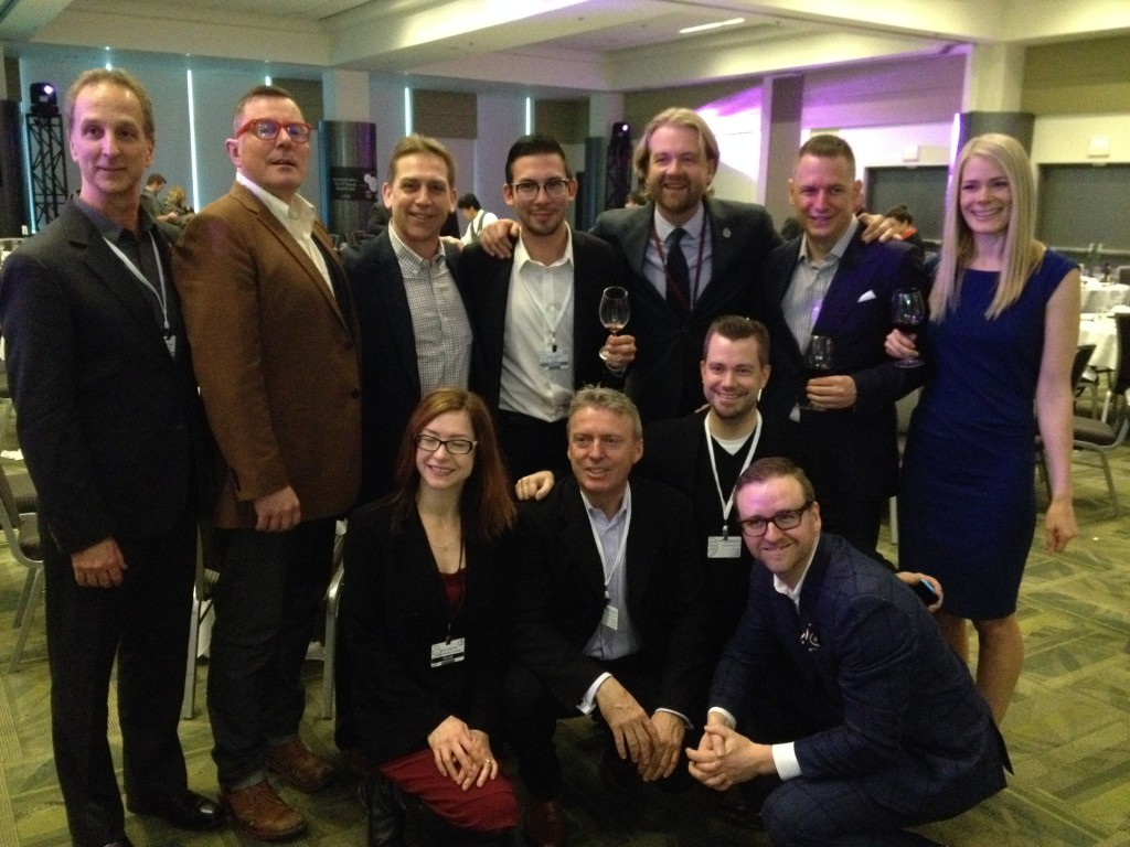 Star-studded sommelier lineup includes (back row) Mark Taylor, Neil Ingram, Brent Hayman, Jason Yamasaki, Terry Threlfall, Mike Bernardo and Emily Walker (front row) Barb Philip, Mark Davidson, Kurtis Kolt and Tom Doughty