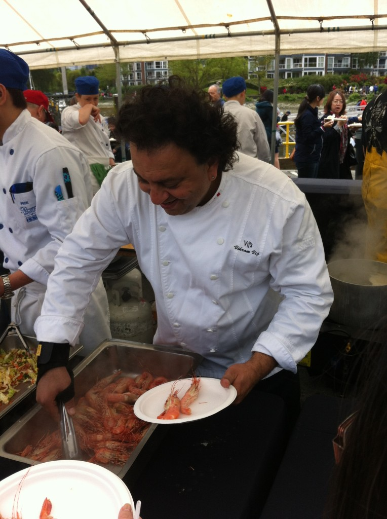 Chefs Table Society member chef Vikram Vij of Vij's serves Spot Prawns