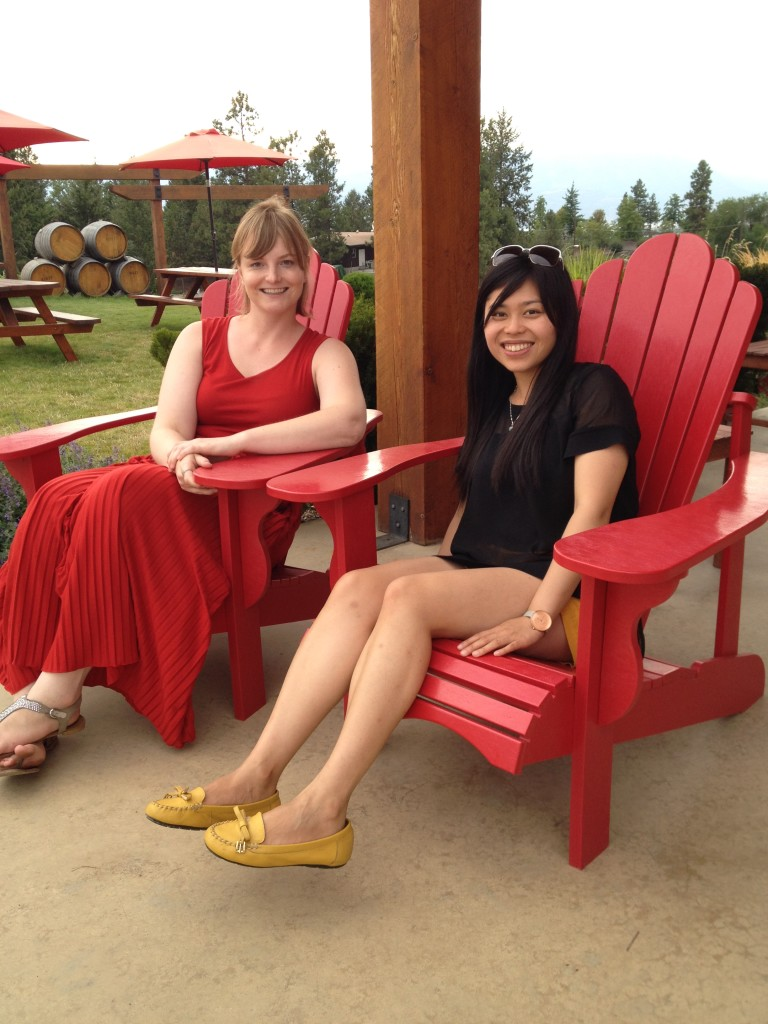 It is so relaxing at the cute outdoor area at Spierhead winery in Kelowna