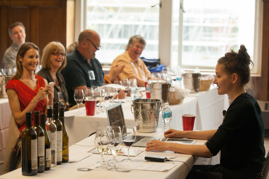 Treve Ring leads an entertaining and educational tasting of Portuguese wines to the delight of  Michaela Morris, Judith Lane, Park Heffelfinger and Tim Pawsey