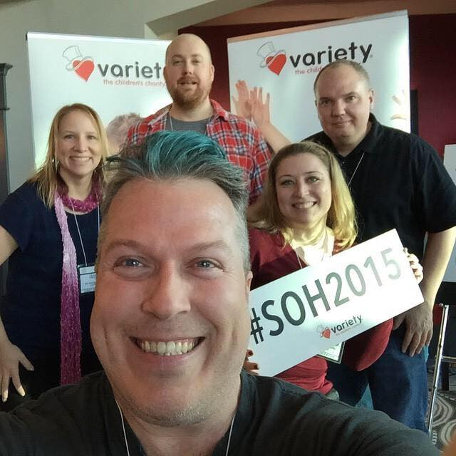 The Social Lounge team selfie from 2015: Marc Smith in foreground, and in the back from left: Leeann Froese (me), Scott Graham, Host Rebecca Bollwit, and John Beihler
