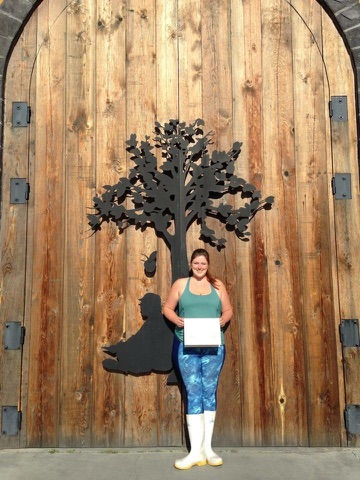 O'Kell in front of Serendipity Winery's emblematic cellar door.