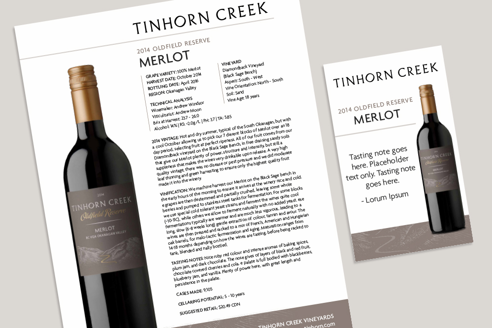 Tinhorn Creek packaging refresh tech sheet