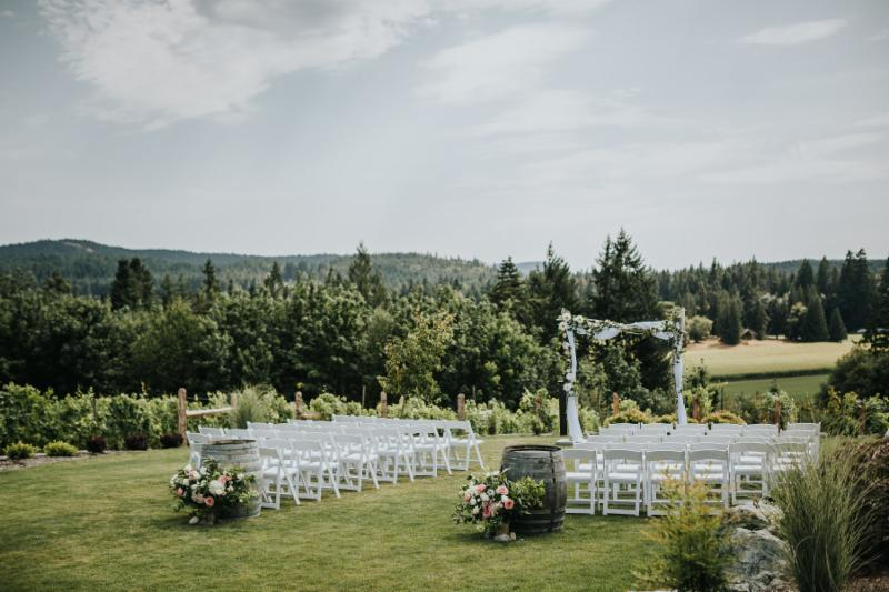 Sweeping valley views on the ceremony grounds at Blue Grouse Estate Winery. Photo Credit Sweet Heirloom Photography.