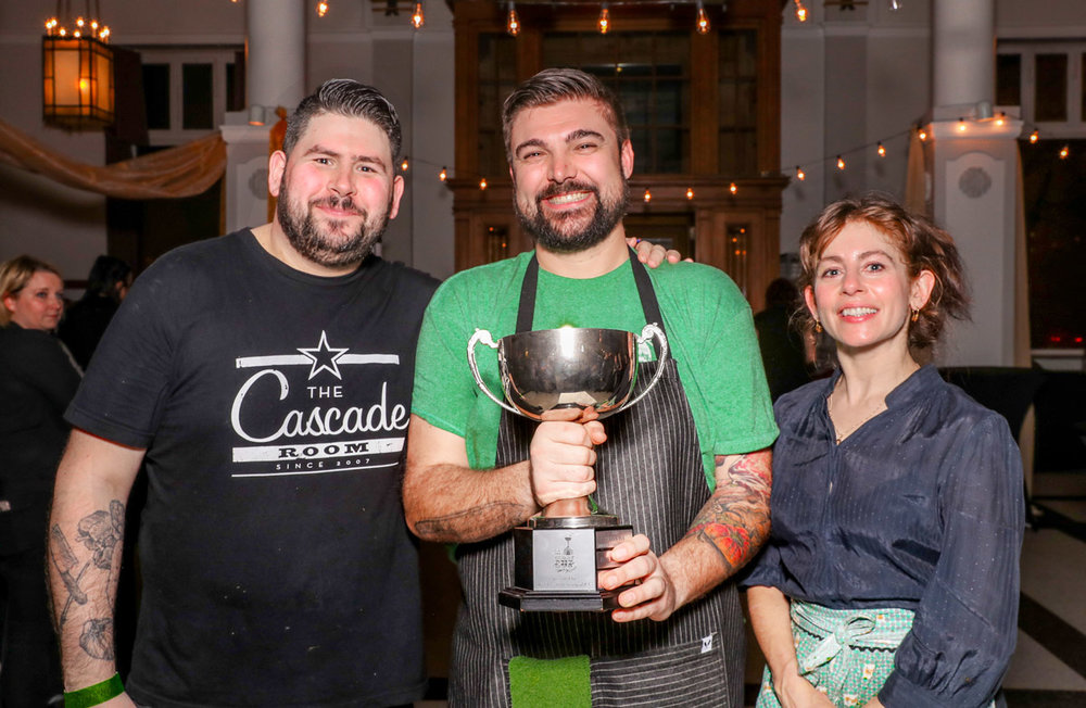 Chefs Tim Evans, Alessandro Vianello, and Elizabeth Bryan with the Curry Cup. Photo Credit Charles Zuckermann