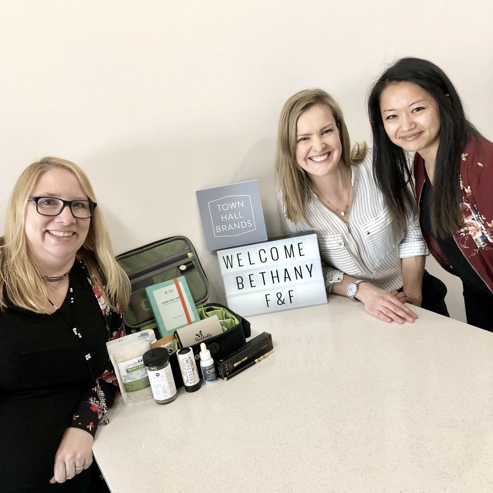 Leeann Froese, Town Hall Brands; Bethany Rae, Flower & Freedom; and Whitney Law, Town Hall Brands celebrate cannabis education