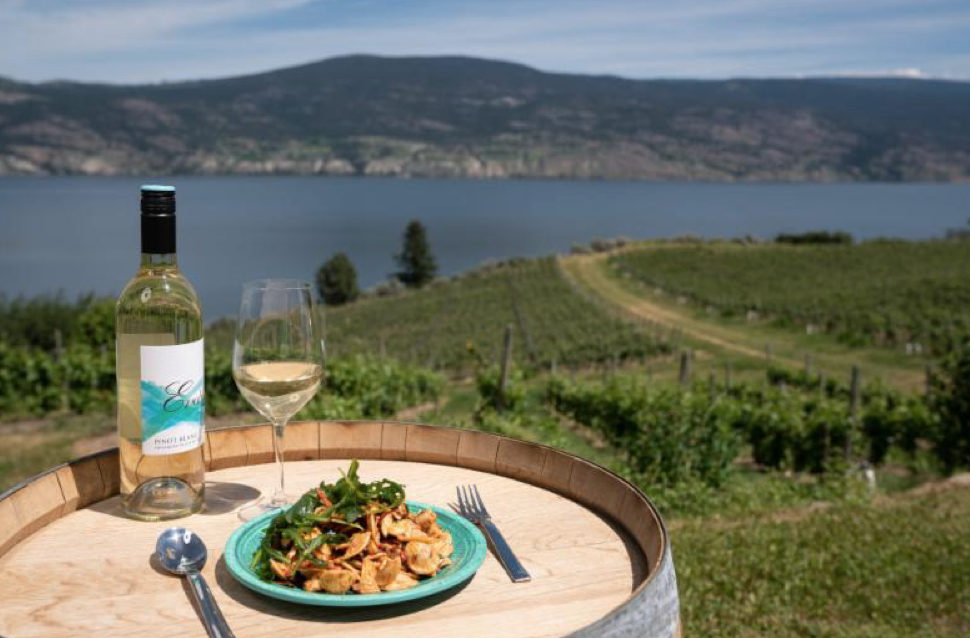 Enjoy a glass of wine paired with food from Evolve Cellars' picnic bar.