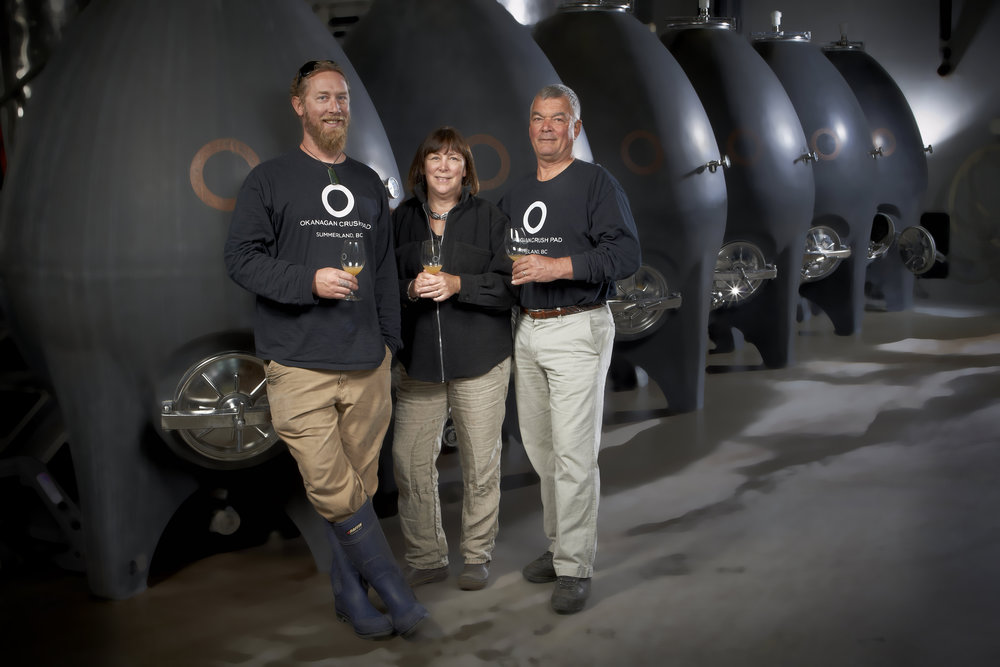 L-R: Okanagan Crush Pad chief winemaker Matt Dumayne, owners Christine Coletta and Steve Lornie Credit: Lionel Trudel
