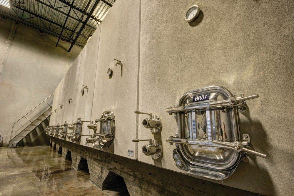 Concrete wine tanks at Okanagan Crush Pad; Lionel Trudel photo