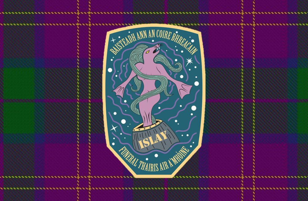 Great Islay Swim Mission Patch on Tartan.png