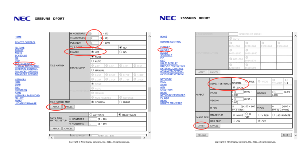 Figure 6: NEC Display Settings