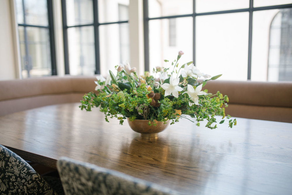 Rosewood co banquet table with Greenway Events Floral arrangement
