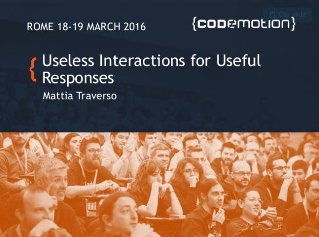USELESS INTERACTIONS FOR USEFUL RESPONSES - Codemotion 2016.A talk about how implementing interactions that are apparently useless (say, hugging a character) can lead to defining emotional moments in games.SEMI-COMPREHENSIBLE SLIDES