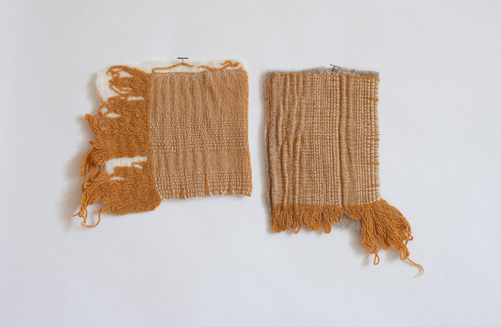 Fragment pair / Embedded (some kind of archaeology)  Handwoven wool felted into merino wool  2017