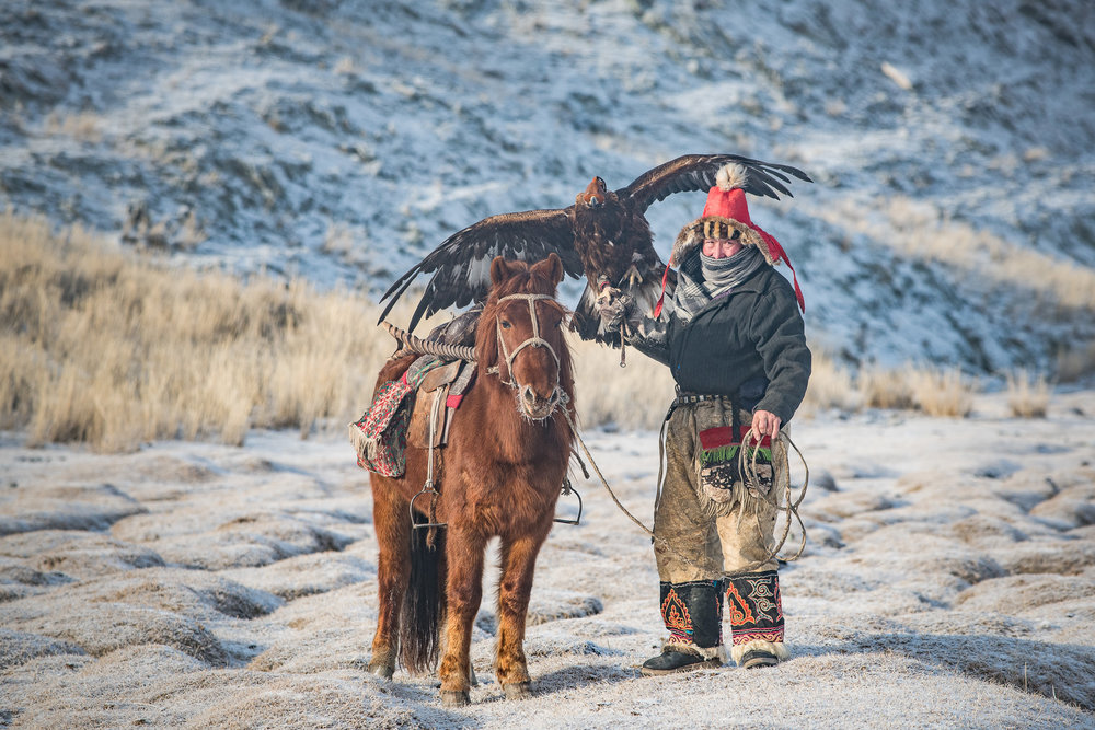 Mongolian Eagle Hunter. Slightly weird contrast effect going on because the centre of the lens was covered in ice. (-35 degrees C)