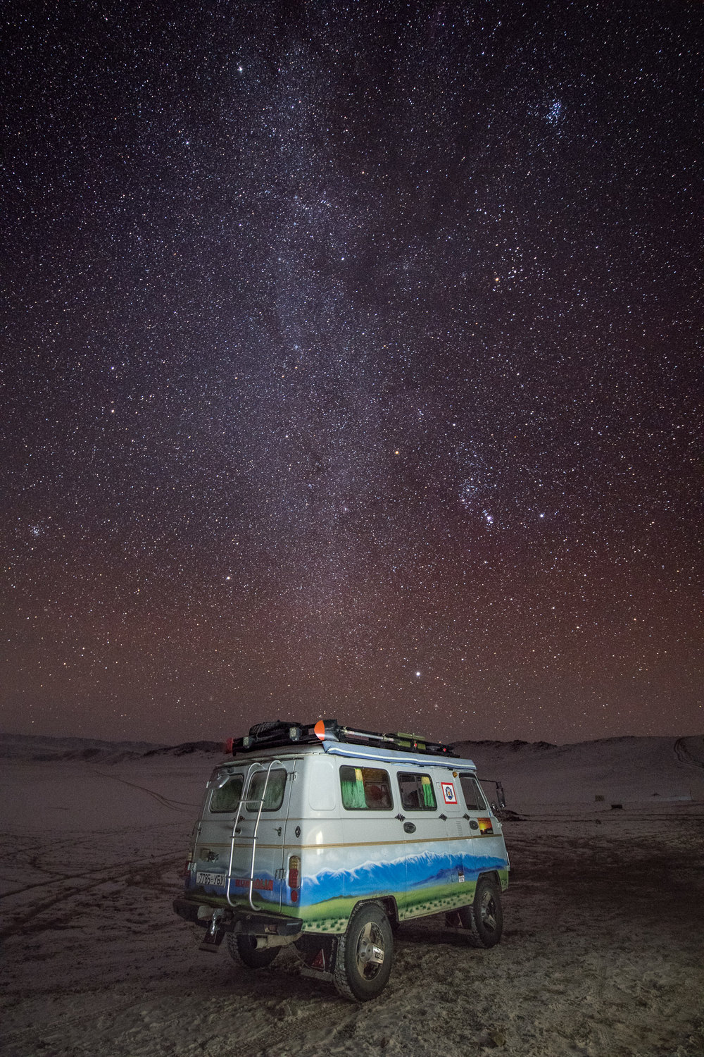 Our Mongolian passion wagon. ISO 5000, 20 secs, F2.8. With some Lightroom tweaking only.