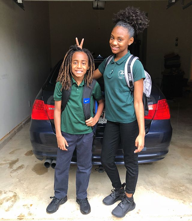 """New school year, who dis? 🤪✌🏾🤘🏾. . MINION UPDATE: Summer was so good to these two! In just 2 months they globe hopped across Washington, Virginia, Maryland, Mexico, Hawaii and Miami! They definitely have the travel bug in them. 😩. Needless to say, despite the smiles, starting back school (and chores) hasn't been the most exciting. . They're both honor scholars in the TAG (Talented and Gifted) Program at school, but high key feel the current school system is outdated and a waste of their young years (Landon's words 😂). He told me today that he wants to learn French, and Syd wants to learn Spanish so I think incorporating a new language or skill will stimulate them in a different way.  We're also starting the school year off with a 21 days of gratitude and positivity challenge, and I also add little handwritten """"tote notes"""" in their lunch boxes to help keep them inspired... Here's to hoping I have the mental strength to make it out of this school year alive. These two are brutal! 👀😩"""