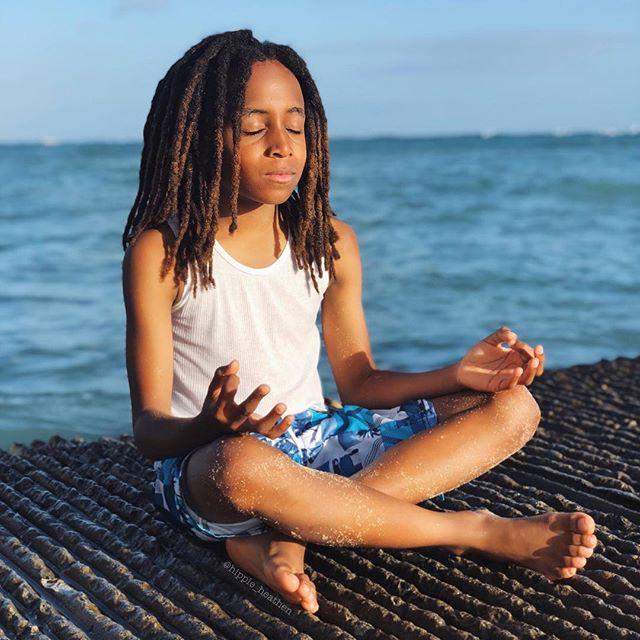 BLACK BOY JOY if I ever did see it! 🧘🏾♂️🖤👑☺️. . EASILY, the coolest kid I know. My little starseed SONshine! . #HeMakesMeBetter #HeAlsoMakesMeLookGood #Lol #MamasWhoNamaste #MindfulMamas #YogaKids #KidYoga #YogaMom ConsciousChildren #LittleGuru #ConsciousLiving #BlackBoyJoy
