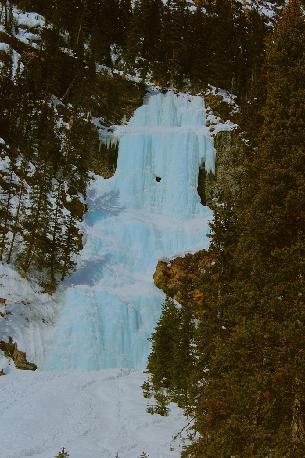 Frozen Waterfall on Lake Louise
