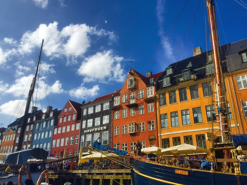 Nyhavn: The beautiful waterfront with boats + ships, shops, and colorful houses. This is a great place to get some food and sit by along the edge admiring the view.