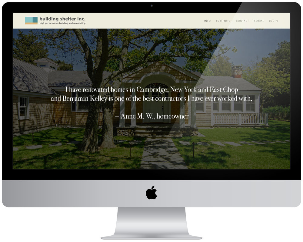Building Shelter Inc. - Brand cohesion, portfolio management and organization, 12 page website creation.