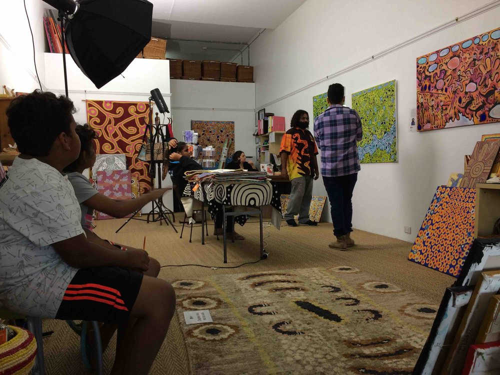 Cedric and family at Better World Arts Gallery, Port Adelaide. Photo Carl Kuddell, May 2017