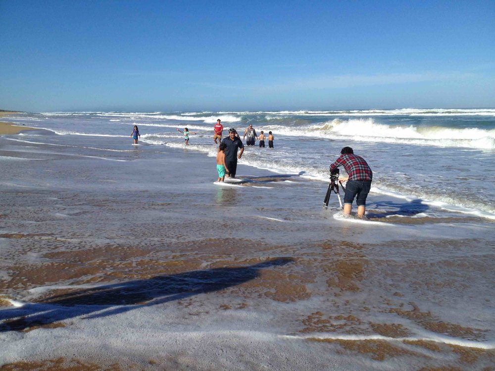 Ngarrindjeri community members at Hacks Point beach in the Coorong. Photo Carl Kuddell 2014