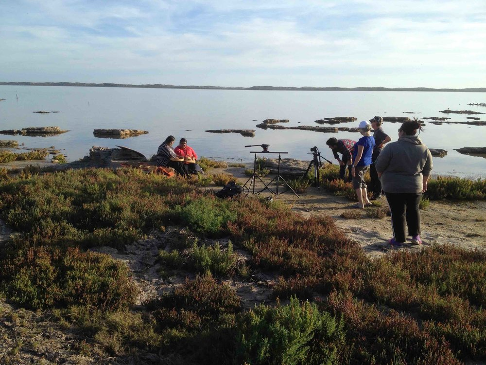 Ellen Trevorrow and Debbie Rankine at Bonney's Reserve, Coorong. Photo Carl Kuddell 2014