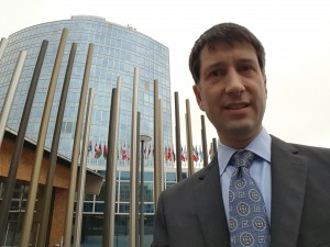 Doug Isenberg, outside the offices of the World Intellectual Property Organization (WIPO) in Geneva, November 2, 2015