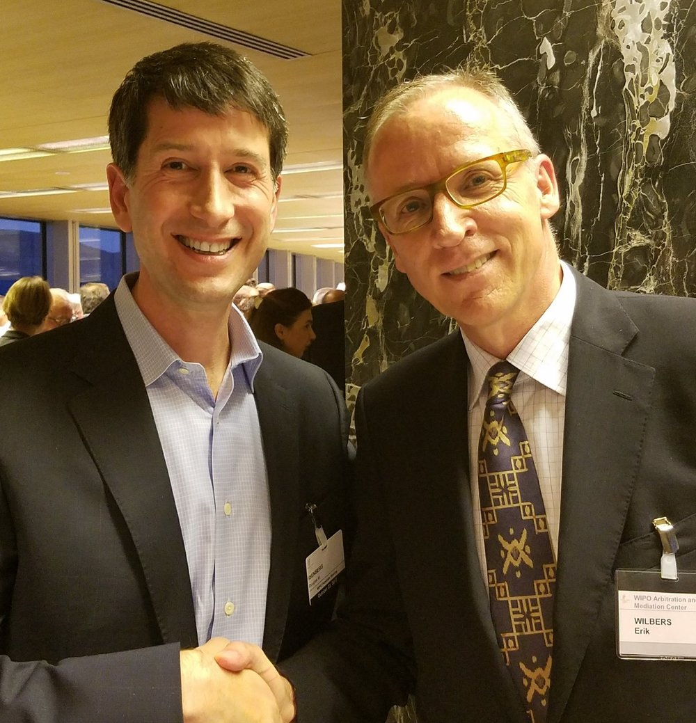 Doug Isenberg (left) with Erik Wilbers, director of WIPO's Arbitration and Mediation Center, in Geneva on October 23, 2017.